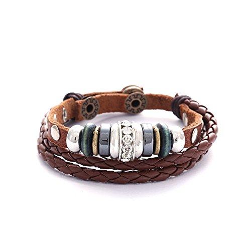 Morella Damen Lederarmband braun geflochten mit Nieten + Beads und Zirkoniasteinen