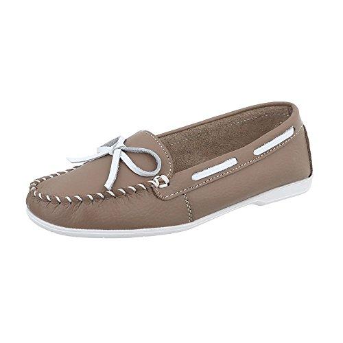 Ital-Design Mokassins Leder Damen-Schuhe Mokassins Moderne Halbschuhe Hellbraun, Gr 38, 8118- (Schuhe Braun Damen Slipper)