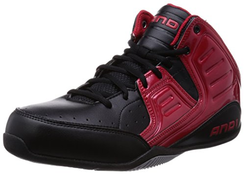AND1 Rocket 4 Mid, Baskets homme Noir - Schwarz (Red/Black-Silver)