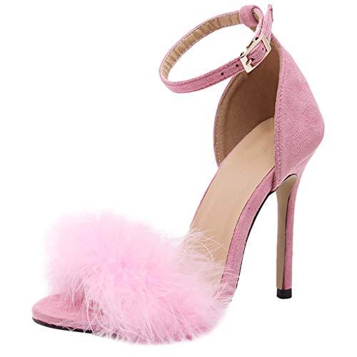 Sandali Donna con Tacco Alto Sexy, LANSKRLSP Scarpe con Tacco Sandali Stiletto Donna Pelliccia Morbida Cinturino Nero Cachi Vino Rosa