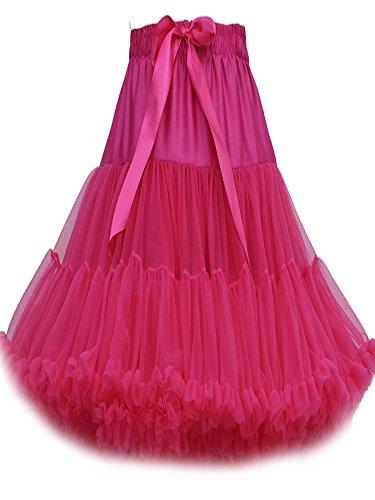 FOLOBE Frauen-Ballettröckchen-Kostüm-Ballett-Tanz mehrschichtiger geschwollener Rock-erwachsener luxuriöser weicher Petticoat 60cm / 23.6  RoseRed