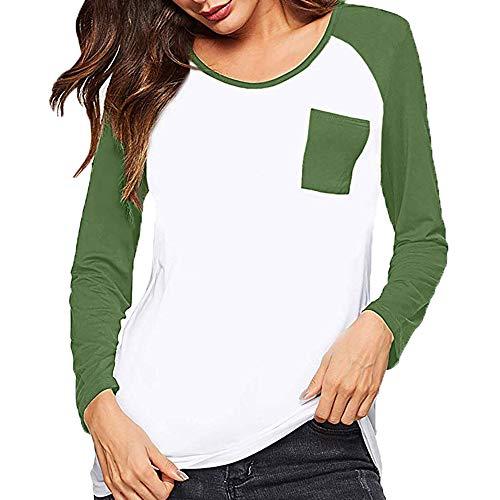 iHENGH Damen Frühling Sommer Top Bluse Bequem Lässig Mode Frauen Blusen Frau Trikot Langarm Bluse Baseball T-Shirts mit ()