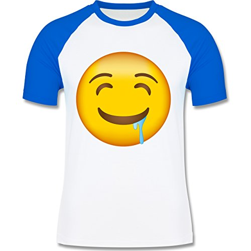 Shirtracer Comic Shirts - Emoji Wasser IM Mund - Herren Baseball Shirt Weiß/Royalblau