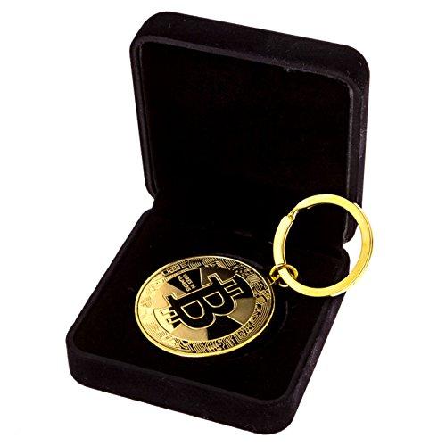 Cryptobase- Bitcoin Schlüsselanhänger aus Edelstahl mit 24 Karat vergoldet in Schmuckverpackung aus Samt mit Bitcoin Logo