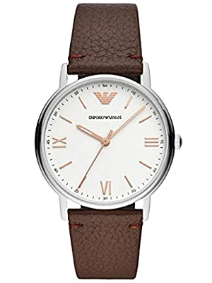 Emporio Armani Mens Analogue Quartz Watch with Leather Strap AR11173
