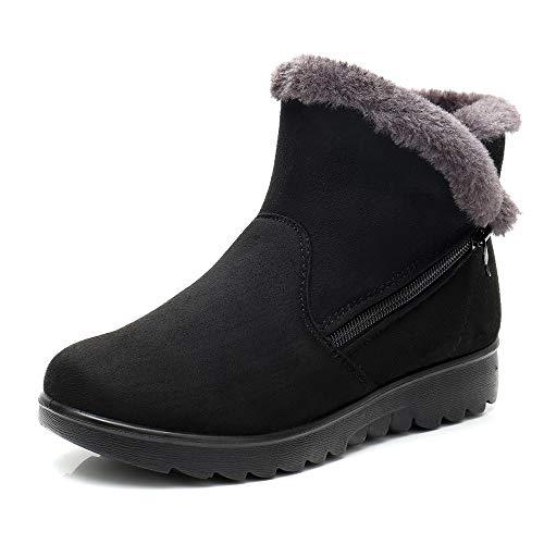VECDY Damen Schuhe,Räumungsverkauf- Herbst Frauen Snakeskin Muster Toe Zip dünne Ferse dick wies Booties Schuhe Stiefel Leopardenmuster Stiefel High Heels warme Schuhe
