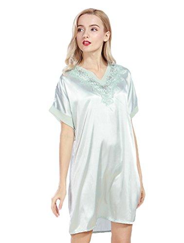 WanYang Femmes Manches courtes Pyjama Chemise De Nuit En Soie Ete Pour Bleu clair