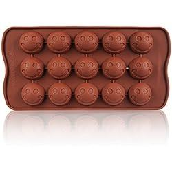 Smiley molde de silicona para pasta de azúcar, chocolate, jabón, hielo, Jelly, con 15Emoticonos–Ideal para pasteles de cumpleaños, regalos, etc.. Brown–ganzoo