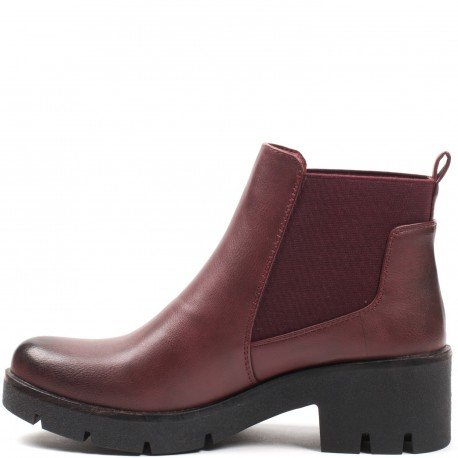 Ideal Shoes - Bottines style chelsea classique Morgane Rouge