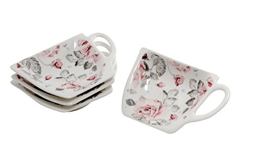 4 Stück Tellerchen für Teebeutel - Teebeutelablage in Geschenkverpackung von DUO (Röschen)