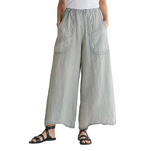 f2c7cdee906 PRINCER Buttons Cotton Linen Trouser Casual Loose Fashion Women Solid Wide  Leg Pants Full LengthSoft Plus