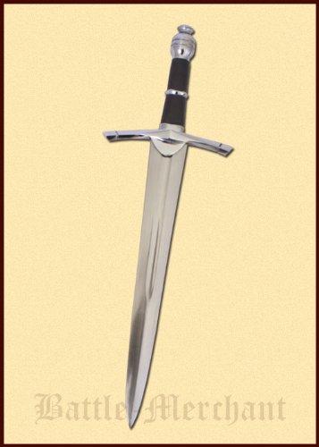 Dolch aus Stahl geschmiedet mit brauner Lederscheide Ritterdolch Ritter Mittelalter - echt Metall für Erwachsene (Dolch-geschmiedet)