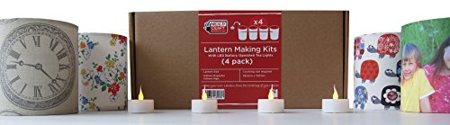 Lantern Making Kit (4 Pack) with LED Tea Flameless Candle Lights