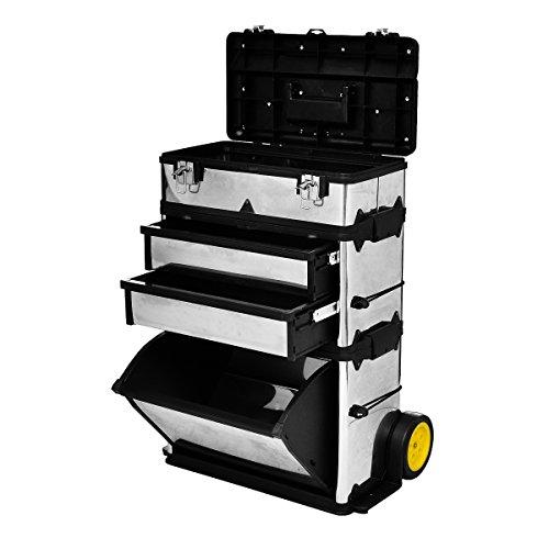 vidaXL 3 Kofferteile Werkzeugkasten Werkzeugtrolley Werkzeugkiste Edelstahl