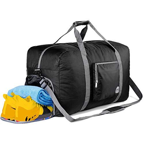 WANDF Faltbare Reisetasche Leichter Sporttasche mit Schulterriemen und Schuhfach für Reisen Sport Gym Urlaub 10 Farbewahl (Schwarz, 85L)