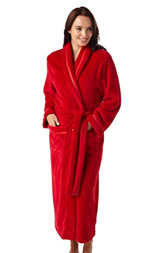 i-Smalls Damen Ultra Weicher Warmer Kuscheliger Winter Langer Dressing Bademantel (Hellrot) 46-48 -