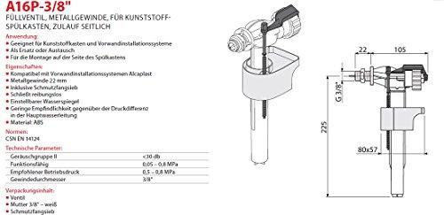 """Füllventil für WC- Spülkasten 3/8"""" Füll-Ventil Metallgewinde Seitlich Neu Schwimmerventil Gewindeendung"""