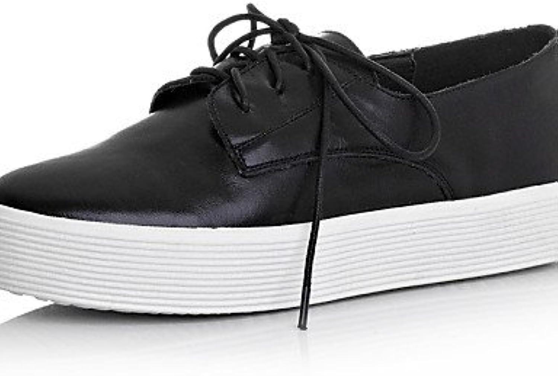 ZQ Zapatos de mujer - Plataforma - Plataforma / Punta Redonda - Oxfords - Casual - Cuero - Negro / Blanco , black-us5...