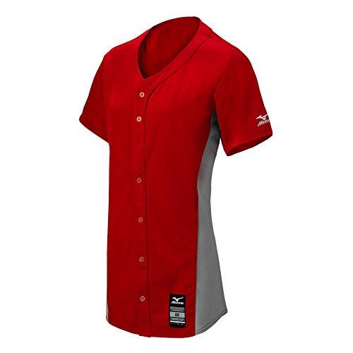 Mizuno Damen Pro Full Button Spiel Fastpitch Softball Jersey, Rot Grau, 3X Große