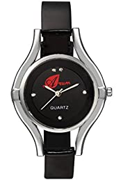 Arum New Collection Black Round Shaped Dial Leather Strap Fashion Wrist Watch For Women's And Girl's