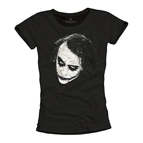 Joker Heath Kostüm - Ausgefallenes Damen T-Shirt mit Joker Motiv - Why So Serious schwarz Größe L
