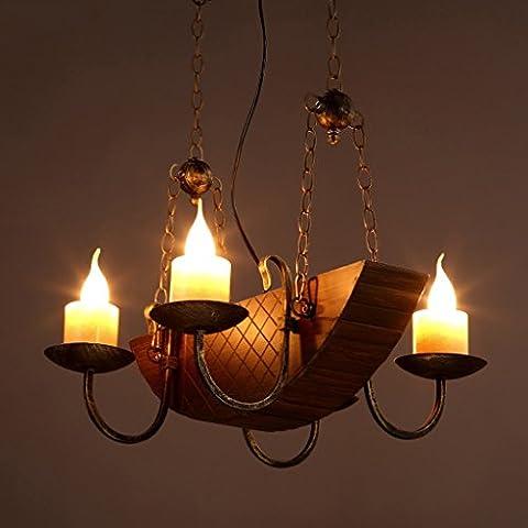 The harvest season Loft Iron Chandelier Restaurant Lights Antique Wooden Retro Chandeliers -E14 Screw Bulb