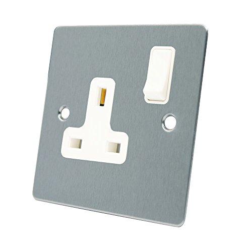 AET FSC1GSOCWH 13A 1-Ebenen-Schalter, Matt verchromt, Flach, mit Weißem Einsatz, Wippschalter aus Kunststoff (Weißer Elektrischer Ebene)
