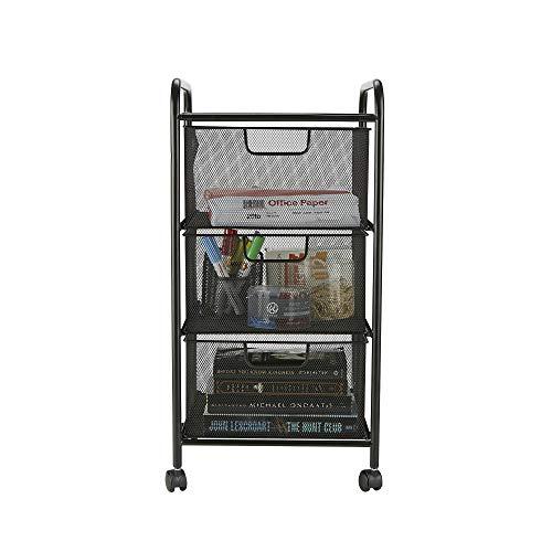 Mind Reader 3VERTM-BLK 3 Mesh Rolling, Metal, Drawers, File, Utility, Office Storage, Heavy Duty Multi-Purpose Cart, Black -