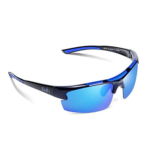 Ewin E52 Polarised Sports Sunglasses, UV400 Protection Glasses (Black&Blue)