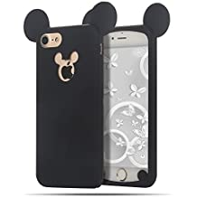 iPhone 7 Plus Coque 3D Housses Etuis Silicone Moevn Mickey Tlphones Protection pour Apple iPhone 8 Plus / 7 Plus Flexible Souple TPU Cases Covers Couverture AntiChoc Mince Lgre Protector ,Noire