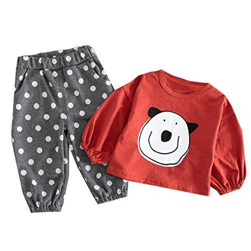 Baby Mädchen Kleidung Set Langarm Cartoon Shirt Top und Dot gedruckt Bloomers 2 Stück Kid Outfit -