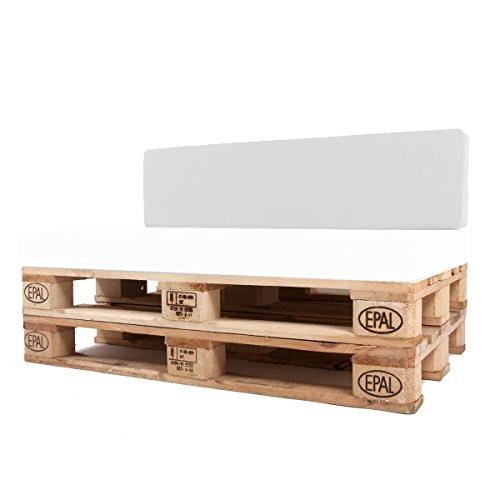 Arketicom Pallet-One Cheope Outdoor-Sofa Gepolsterte Rückenlehne für Outdoor-Sofa aus Euro-Paletten, wasserabweisend, Bezug abnehmbar, verschiedene Farben 120x30x15 Weiß (010 Bianco)