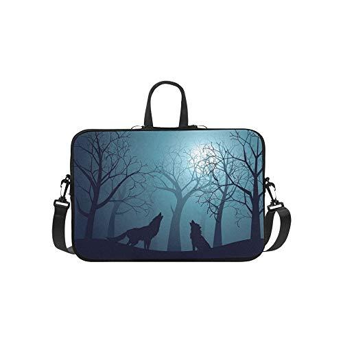 Silhouette Wolf Howling Moon Forest Night Aktentasche Laptoptasche Messenger Schulter Arbeitstasche Crossbody Handtasche für Geschäftsreisen