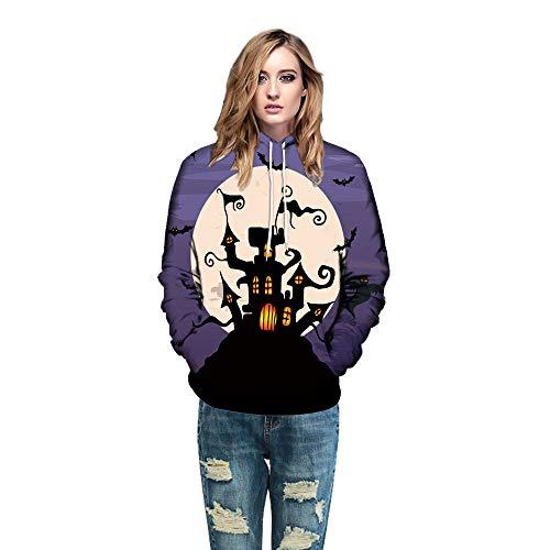 (Yesmile Damen Kapuzenpullover Damen Casual Sweatshirt Halloween 3D Drucken Lange Ärmel Pullover Tops Bluse)