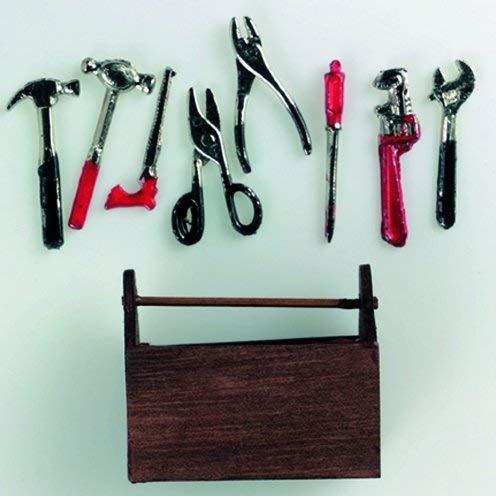 efco-Miniatur Werkzeugkasten mit Werkzeug 5x 4cm 9Teile, Mehrfarbig