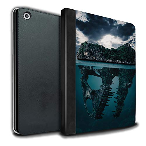eSwish PU-Leder Hülle/Case/Brieftasche für Apple iPad 9.7 (2017) Tablet/Tropische Insel/T-Rex Muster/Dinosaurier Jurassic Earth Kollektion T-rex-mobile Handy