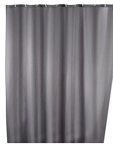 Wenko Duschvorhang Uni Grey mit 12 Duschvorhangringen thumbnail
