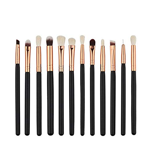 lovedjl Make-Up Pinsel 12 Teile/Satz Make-Up Pinsel Anzug Professionelle Augen Kosmetische Werkzeuge Schwarz Rose Gold Griff Lidschatten Eyeliner Lip Pinsel Kit @ As_Photo (Brush Finish Powder)
