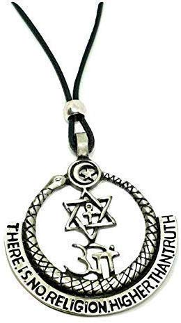 Eclectic Shop Uk Atheist Theosophy - They're Ist No Religion Higher als Wahrheit Anhänger Ouroboros Corded Perlen Halskette, Anti Religion, Spirituality, Wahrheit, Liebe