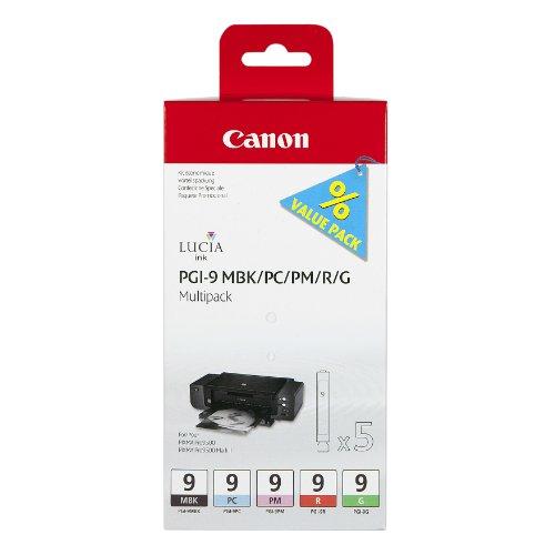 Canon PGI-9 MBK/PC/PM/R/G Original Tintenpatrone, Mutlipack je 14ml mattschwarz, foto-cyan, foto-magenta, rot, grün -