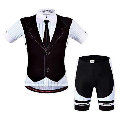WOSAWE Herren Atmungsaktiv kurz Sleeve Radfahren Jersey Gepolsterte Shorts Quick Dry XL Suit_Black/White