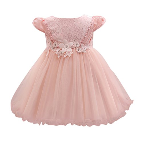 Zhhlaixing Newborn Toddler Baby Girls Short Sleeves 3D Flowers Bow Tie Princess Party Dress Tulle Lace Formal Wedding Bridesmaid Christening Tutu Dress Perfect Birthday Gift for 0-24 Months Flower Girl Tutu