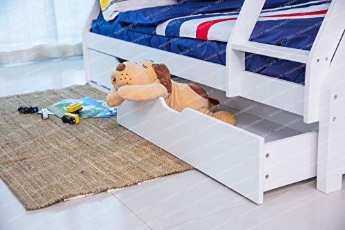 Heavenlybeds @ Wooden Triple Sleeper Bunk Bed Frame Grey or White Wood with Two Drawers 4'6 Double and 3ft Single (Grey)