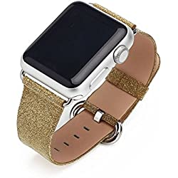 LiQi Smart Watch Band Extreme Deluxe 3D Bling Glitter Leather Bracelet Smart Watch Band Wristband Replacement for Iwatch Apple Watch