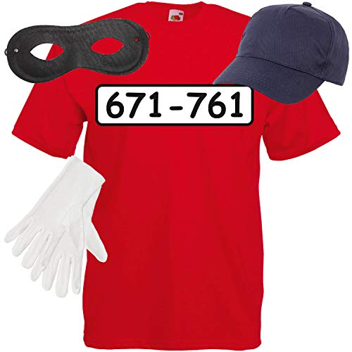 Shirt-Panda Herren T-Shirt Panzerknacker Kostüm + Cap + Maske + Handschuhe Verkleidung Karneval SET05 T-Shirt/Cap/Maske/Handschuhe M (Verbrecher Kostüm Zubehör)