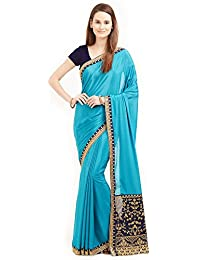 4a142f4a657 Magneitta Women s Georgette Saree With Blouse Pics (93080 Sky Blue  Colour Free Size)