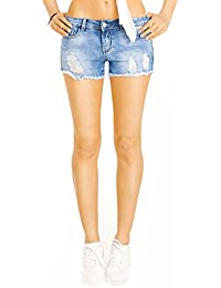 Bestyledberlin Damen Jeans Hotpants, Kurze Hosen, Destroyed Style Jeansshorts, Mini Shorts j16k