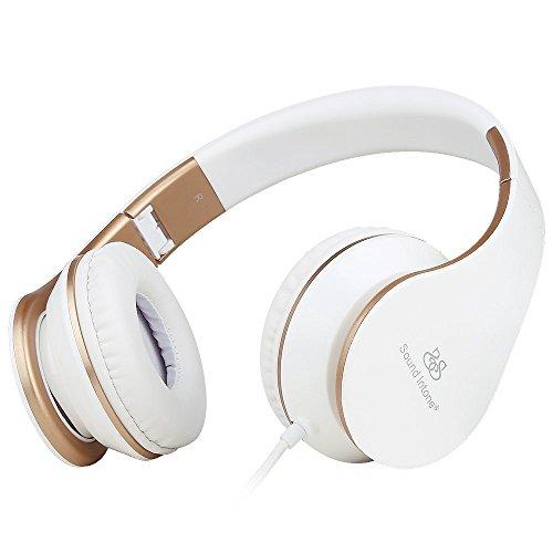 Sound intone i65 pieghevole delle cuffie con 3.5mm audio cavo, leggero over-orecchio auricolare con controllo del volume in linea e microfono per pc / iphone / ipad / samsung / android (bianco/oro)
