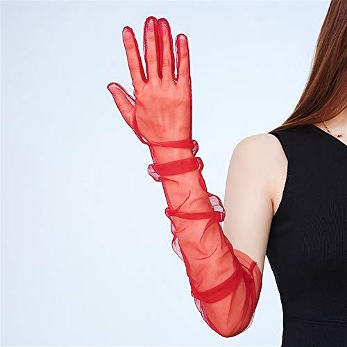 Damen Stretch Spitze Ellenbogen Länge Handschuhe Fünf-Finger-Ultradünne Transparente Lange Handschuhe Feierliche Nachtclub-Bar Leistung (Color : Red)