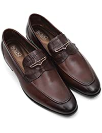 ROSSO BRUNELLO Men's Coffee Embellished Loafers Genuine Leather Shoes